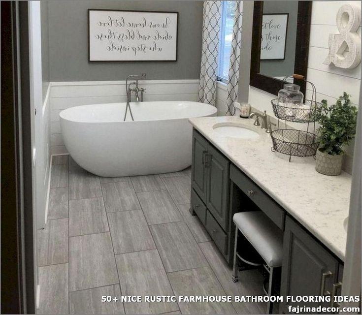 50 Nice Rustic Farmhouse Bathroom Flooring Ideas Bathroom Farmhouse Style Bathroom Flooring Master Bathroom Renovation