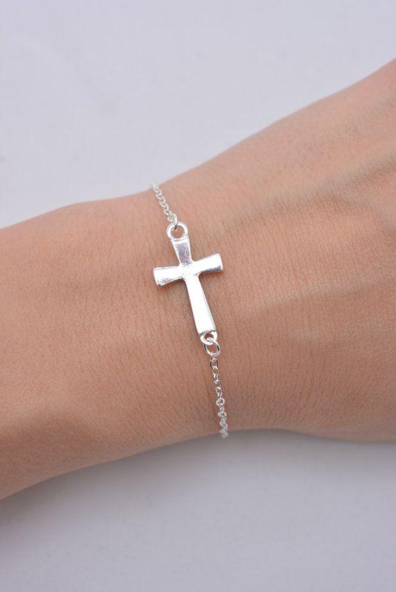 Sideways Cross Bracelet, Silver Cross Bracelet, Small Cross Charm Bracelet, Cross Jewelry, 925 Sterling Silver Chain - Gift for Her 0202