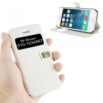 Call Display ID Leather Case for iPhone 5 & 5S - White