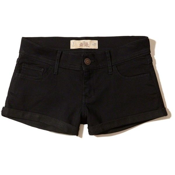 Hollister Low-Rise Denim Short-Shorts (€17) ❤ liked on Polyvore featuring shorts, pants, black, hot denim shorts, low rise short shorts, hot shorts, mini denim shorts and hot pants