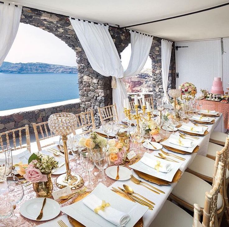 Our gorgeous Rose Gold sequin linen featured here at a glamorous styled shoot on the gorgeous Island of Santorini! Styled by Elizabeth Reine   Santorini wedding style www.styledbystarlet.co.uk