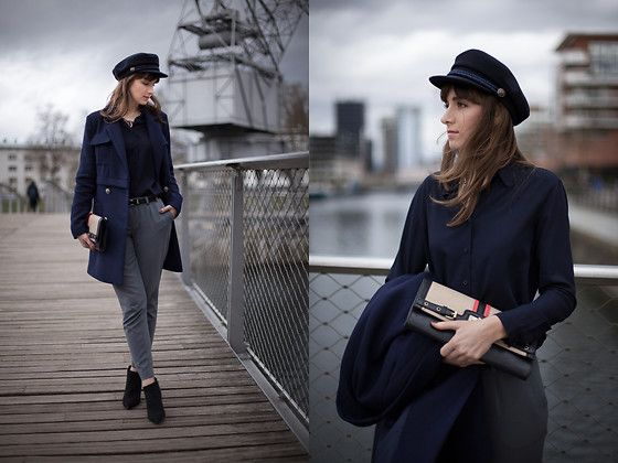 Get this look: http://lb.nu/look/8763501  More looks by Tiger in the Flowers: http://lb.nu/tigerintheflowers  Items in this look:  Zaful Hat, Uniqlo Shirt, Reserved Coat, Stradivarius Shoes, New Look Bag, Echo Trousers   #chic #classic #elegant #navy #simple #ootd #shirt #parisienne