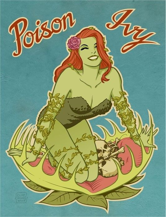 Poison Ivy, Aircraft Nose Art Style. Art by Cliff Chiang.