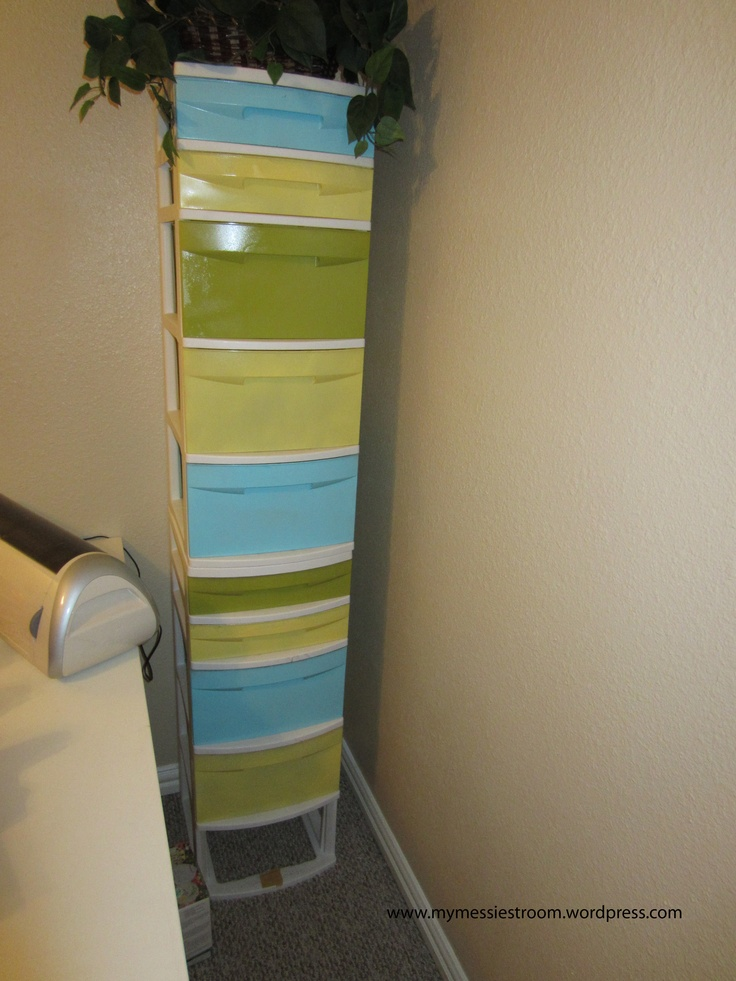 Painted plastic dresser. Use different colors would be cute and eliminate see through dwars