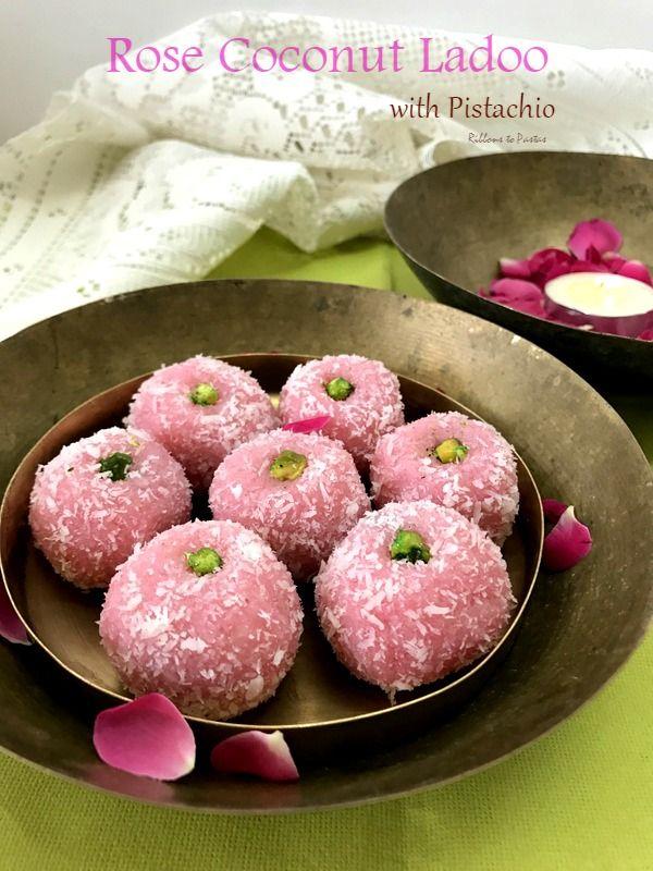 Rose Coconut Ladoo with Pistachio
