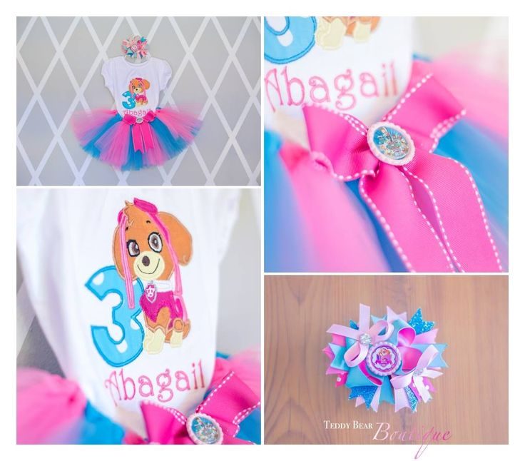 Skye from Paw Patrol Birthday set (with any birthday #) and personalized in sizes 9 months through 5T.