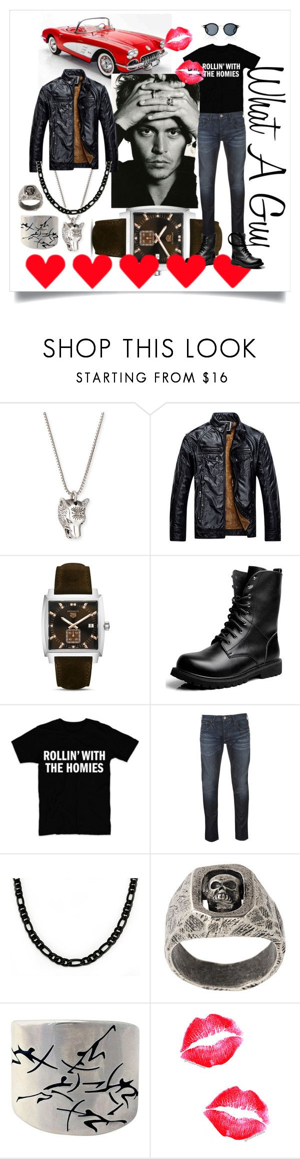 """What A Guy"" by tengoodcats ❤ liked on Polyvore featuring Gucci, TAG Heuer, Armani Jeans, Tobias Wistisen, Antonio Pineda, Thom Browne, men's fashion and menswear"