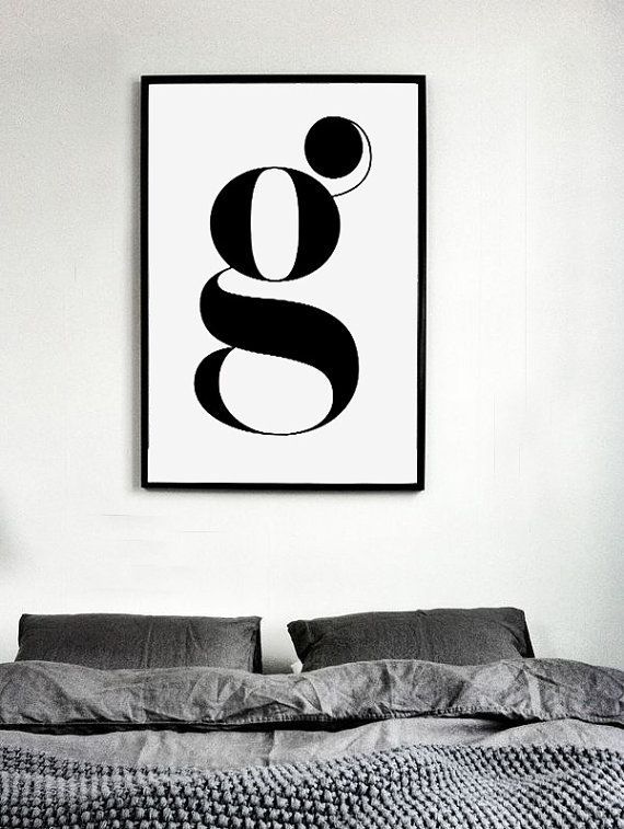 """Scandinavian Style Print """"LETTER G"""", Typographical Art, Printable Poster, Minimalist Style Art, Wall Decor Typography, Black & White Poster"""