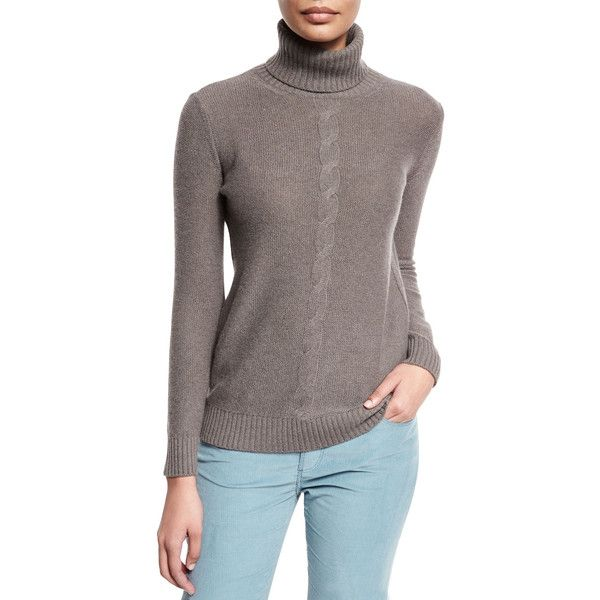 Loro Piana Long-Sleeve Turtleneck Cashmere Sweater ($1,700) ❤ liked on Polyvore featuring tops, sweaters, silver myrtle mel, brown sweater, cashmere cable sweater, cable turtleneck sweater, long sleeve sweater and brown turtleneck