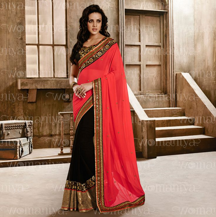 $83.47 Pink Georgette Half and Half Saree With Blouse 57925