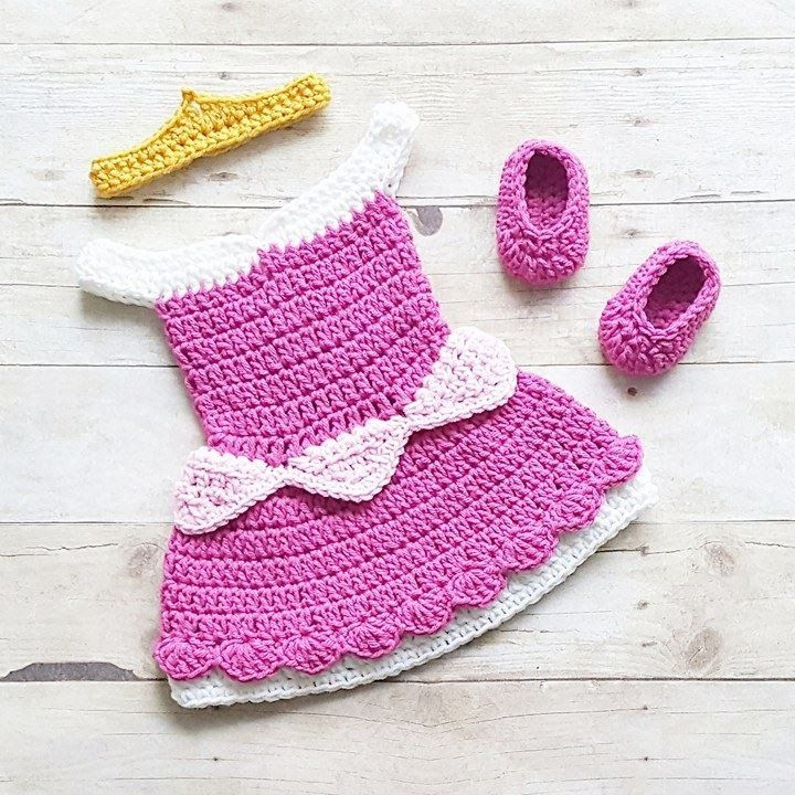 Crochet Baby Sleeping Beauty Aurora Inspired Dress Bow Headband Crown Shoes Set Costume Dress Up Handmade Disney Inspired Baby Shower Gift Photography Photo Prop