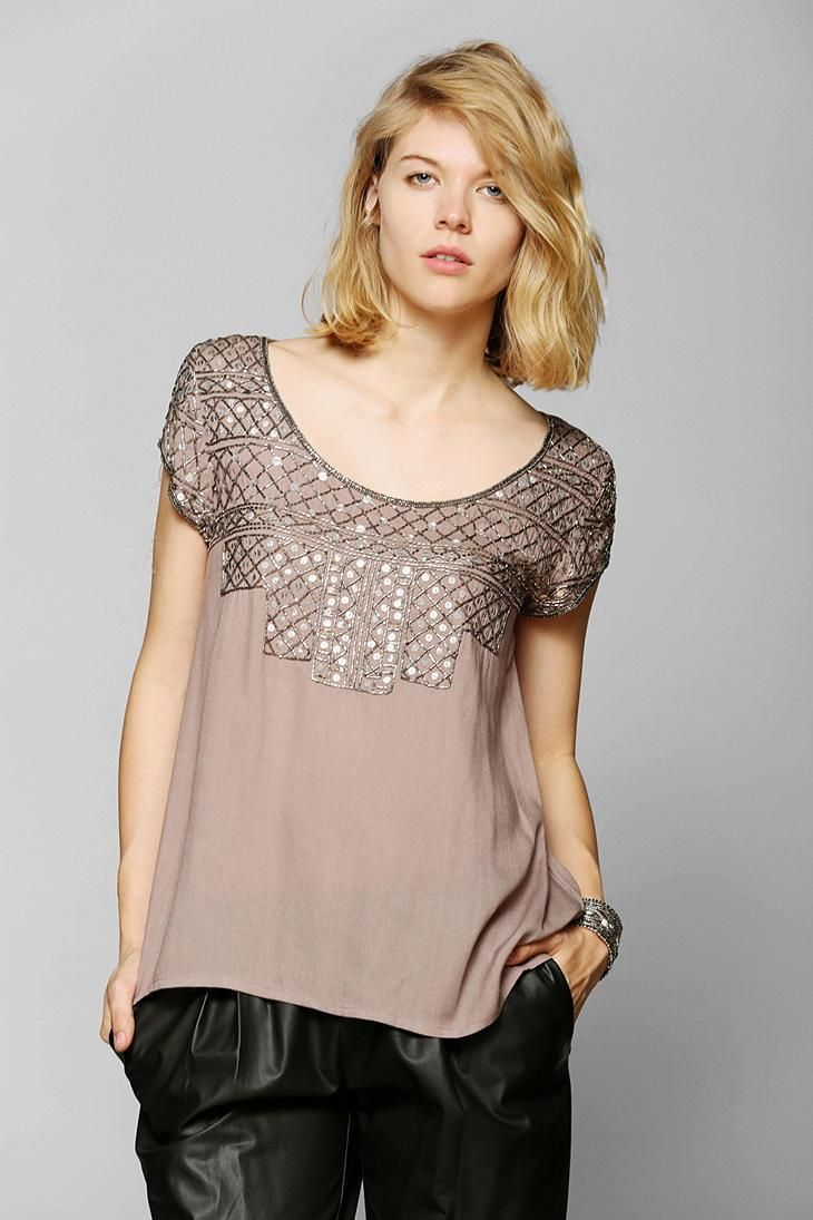 Angie Drapey Beaded Top #urbanoutfitters