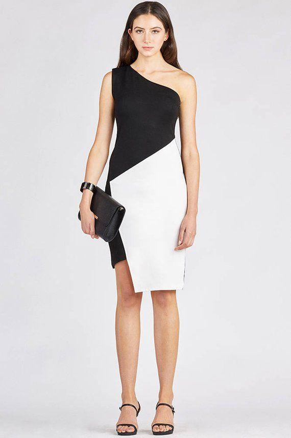Women's dress Midi Black dress.One Shoulder Bodycon Dress. Formal Dress. Cocktail Dress.Classic Black and White Dress. Party Dress