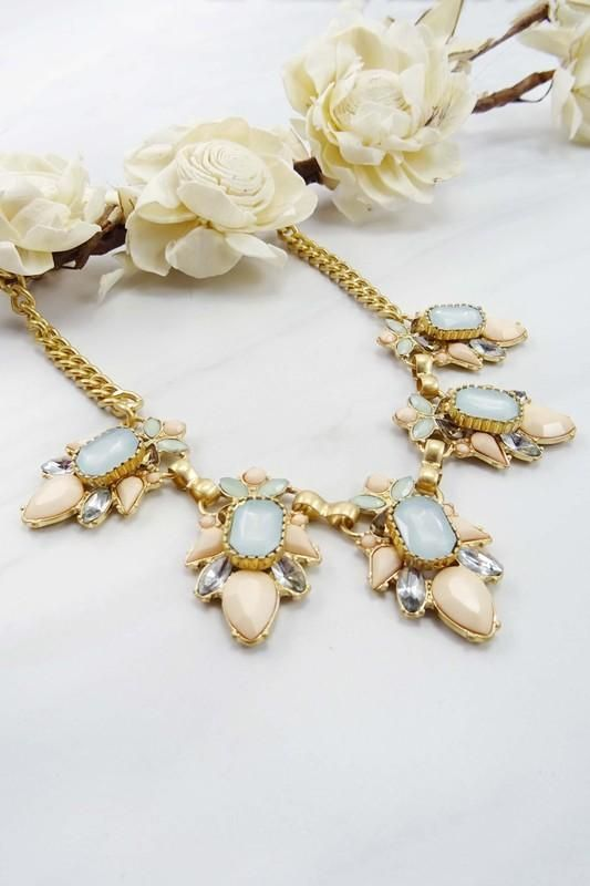 Blinded by the Light Blush & Opal Statement Necklace
