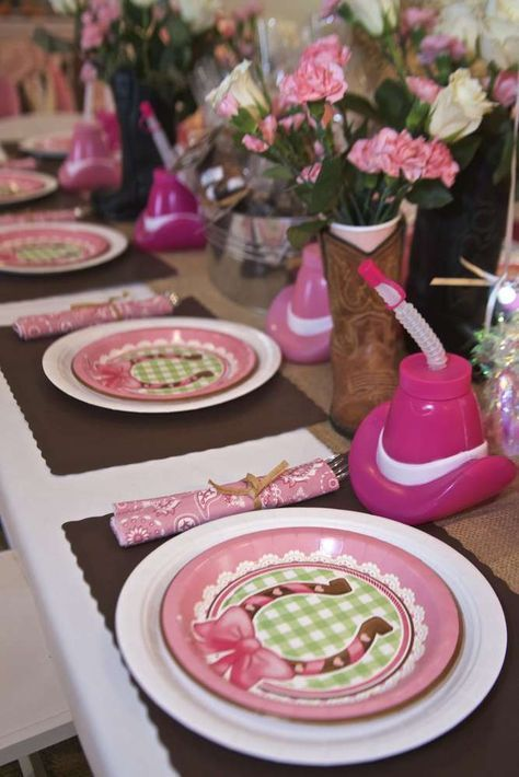 Pretty place settings at a cowgirl birthday party! See more party ideas at CatchMyParty.com!