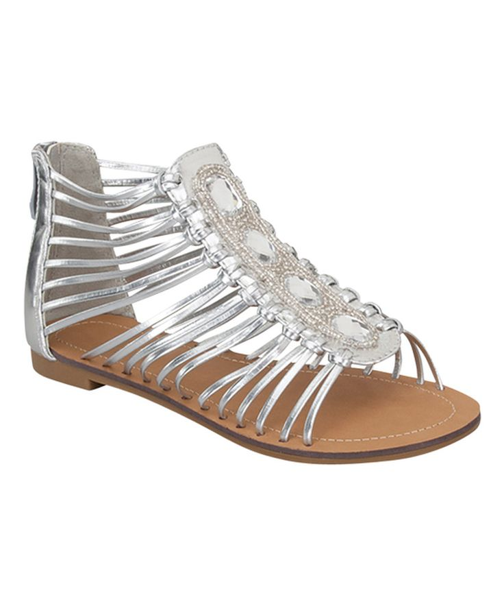 Look at this Link Silver Zip-Up Merinda Sandal - Kids on #zulily today!