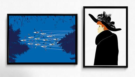 A4 prints  red headed woman-person-canoes home decor