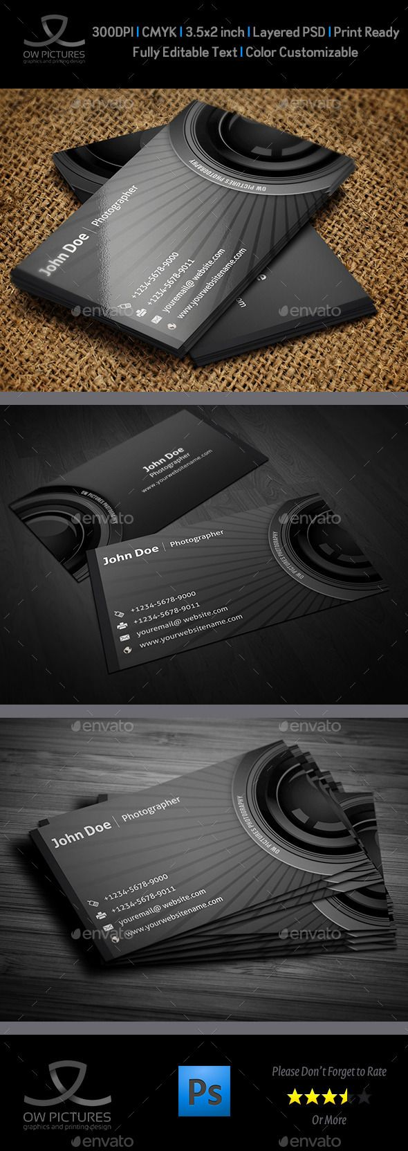 Photographer Business Card.   Download Here : http://graphicriver.net/item/photographer-business-card/3216415?s_rank=42