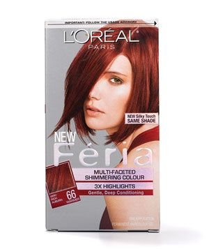 "Home Hair Color for Redheads  Try L'Oréal Paris Féria Multi-Faceted Shimmering Colour ($10 at drugstores). ""It contains intense pigments, so the color lasts,"" says Hazan, who suggests picking one shade lighter than what you want. ""Reds can come out more vibrant on the hair than they look on the box."""