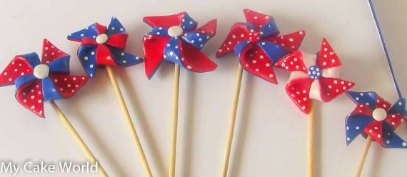 Check out this item in my Etsy shop https://www.etsy.com/listing/239753649/pinwheel-cake-toppers-balloons-cake