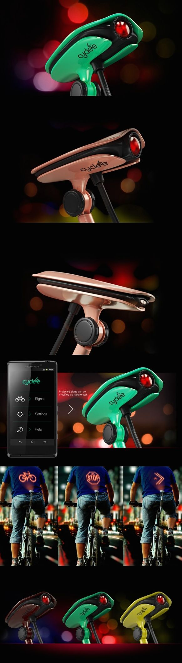 The #Cyclee is a pretty nifty projector that uses your back as a canvas to project signals and relevant warning signs to alert the person riding/driving/locomoting behind you. Pair it with its mobile app and you're set to go. Cyclee also lends itself to e