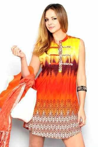 Tunika Elements - Häftig tunika utan ärmar i orange, brunt och gult. Show some color baby!