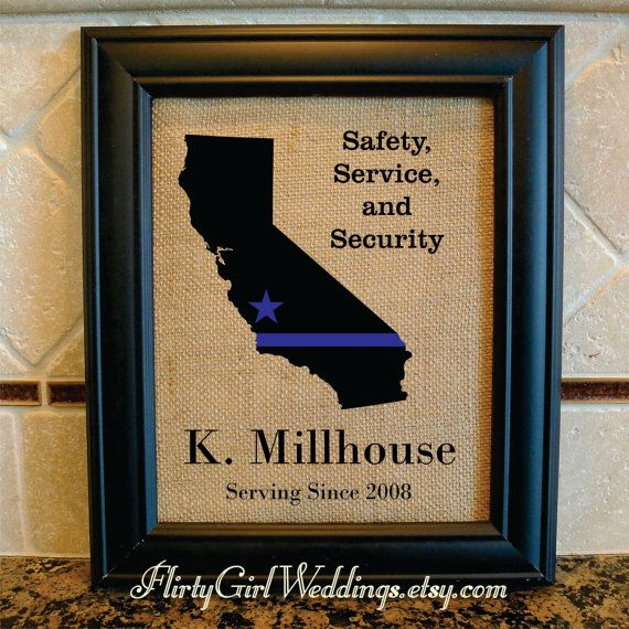 Police Officer Gift - Thin Blue Line - Star where based - Any State - State Police, Sheriff, Deputy, State Trooper - Police Motto (serv102)