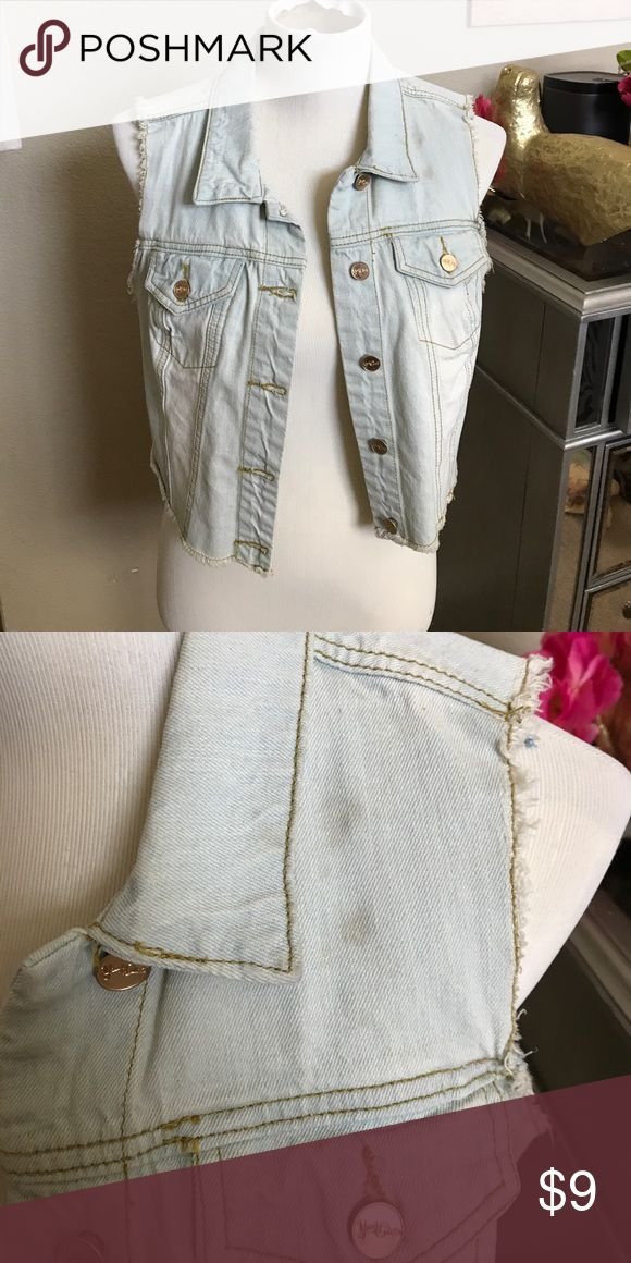 Sleeveless Jean Jacket Pair with maxi or with jeans! Minor stain on left shoulder. Jackets & Coats Vests