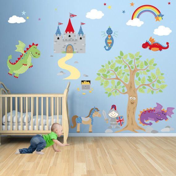 Knight & Dragon Wall Decal.  Wall Stickers for Boys, baby nursery decor, Enchanted Forest, rainbow baby, April finds, toddler room