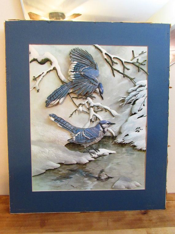 Vintage Basil Ede 3D Print Blue Jays in Winter by FoxLaneVintage, $46.25