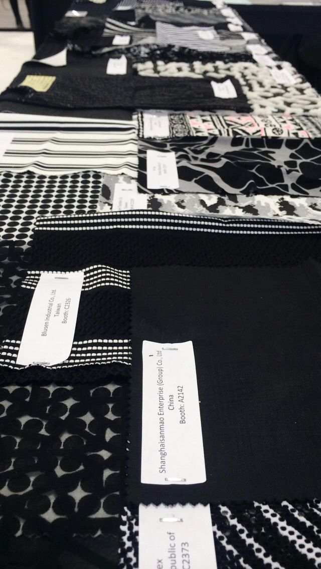 Black and white fabrics aren't going away in 2016! At @texworldusa Jan. '15.