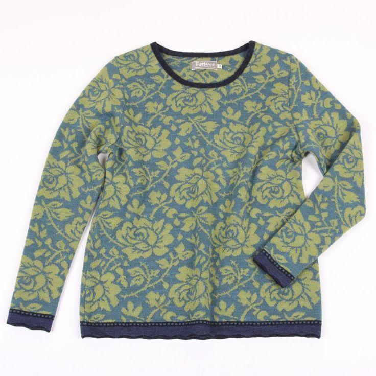 Pullover Rosen allover maigrün|türkis