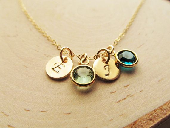 14kt Gold Filled Tiny Treasure 2 This necklace features very petite personalized charms; Swarovski birthstone crystal(s), and tiny 14kt gold filled disc…