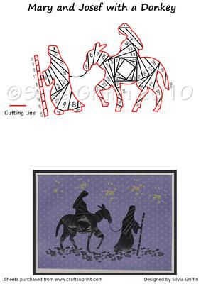 Mary and Joseph and a Donkey on Craftsuprint designed by Silvia Griffin - Mary and Joseph - Iris Folding -Nativity - on their way to Bethlehem. I hope you get much use and enjoyment out of this pattern. Thank you for looking and please check out all my other designs :) - Now available for download!