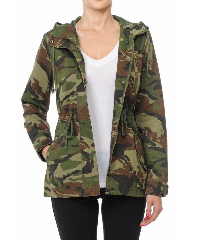 a62f78d3ed9 Women s Utility Anorak Military Camo Drawstring Hooded Jacket (S-L)   AMBIENCE  Military  Casual