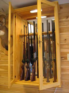Armoire à fusils en bois massif