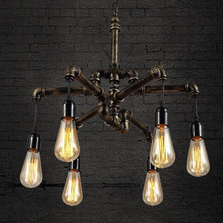 Goedkope Loft Vintage hanglampen Industriële Amerikaanse Stijl hangen Licht Edison nordic lamp pijp kooi Hanger verlichting eetkamer bar Lampen, koop Kwaliteit hanglampen rechtstreeks van Leveranciers van China:
