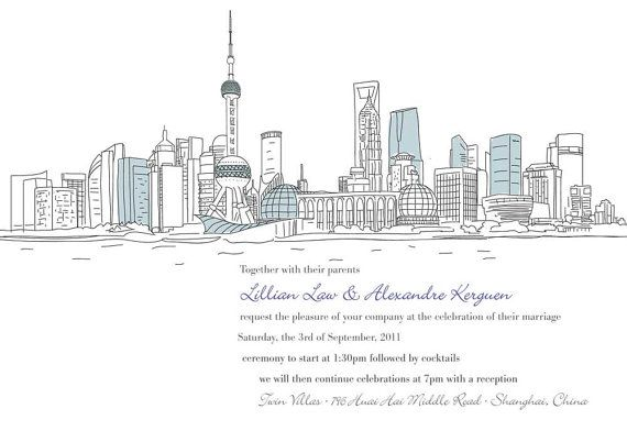 Loving this custom city skyline for save the date poster by TypeandLovePaperie, $135.00