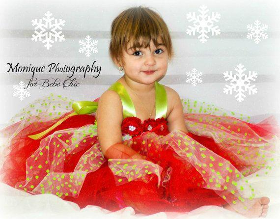 polka dot christmas tutu dress red and green by BebeChicCanada, $75.00