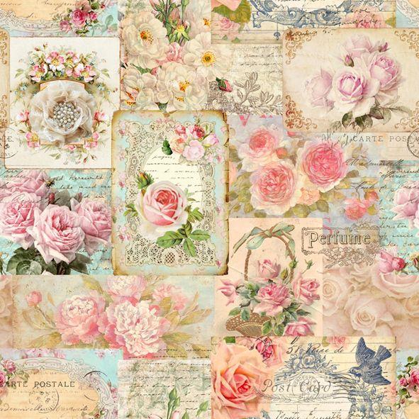 Bavlněná látka Růže Perfume De luxe, digitální tisk metráž 100% bavlna