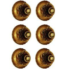Six Gold-Plated Wall Ceiling Lights Flush Mounts by Banci Firenze, Italy, 1950s