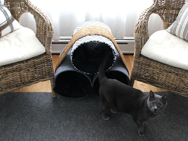 DIY Cat Snooze Tube >> http://blog.diynetwork.com/maderemade/2015/06/15/blogger-challenge-do-it-yourself-cat-castles/?soc=pinterest
