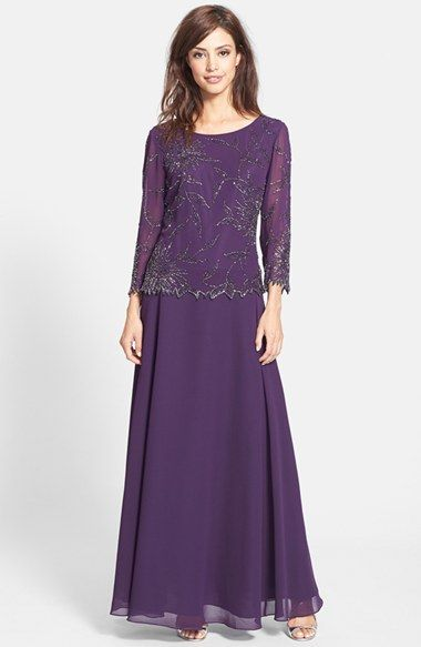 Free shipping and returns on J Kara Beaded Chiffon A-Line Gown at Nordstrom.com. Radiant seed beads paint a gorgeous floral pattern atop a mock two-piece gown finished with a diaphanous, swirling chiffon skirt.