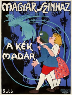 vintage poster | Bato, Magyar Szinhaz (Hungarian Theatre – The Blue Bird), 1910 ca