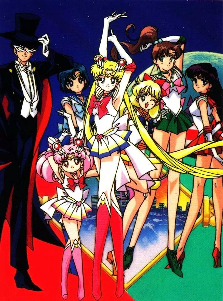 The main Sailor Moon team. <3 I used to love this show! I think I still have it on VHS lol