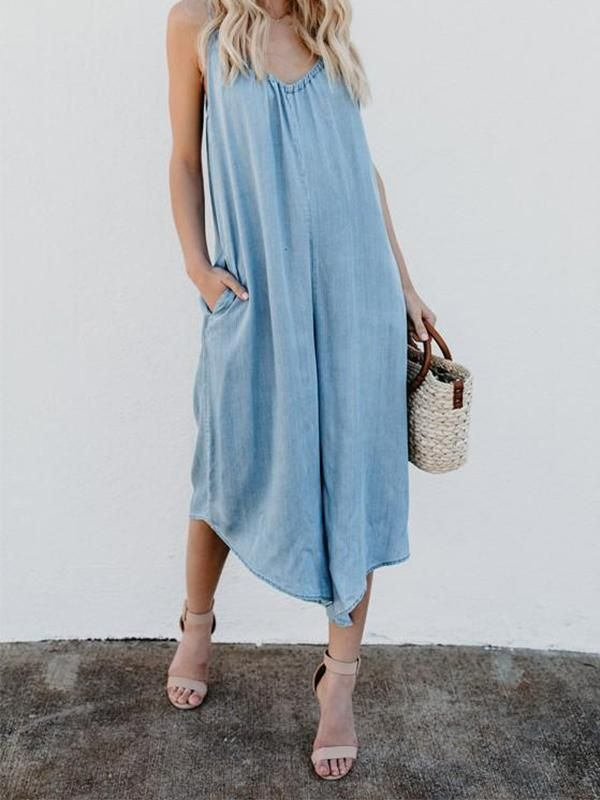 157fd7905ad7 Casual Pockets Spaghetti Strap Backless V-neck Plus Size Blue Wide Leg  Jumpsuit