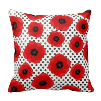 Big Red Poppy Flowers on Black and White Polka Dot Throw Pillow | Red Throw Pillows | Pretty Throw Pillows