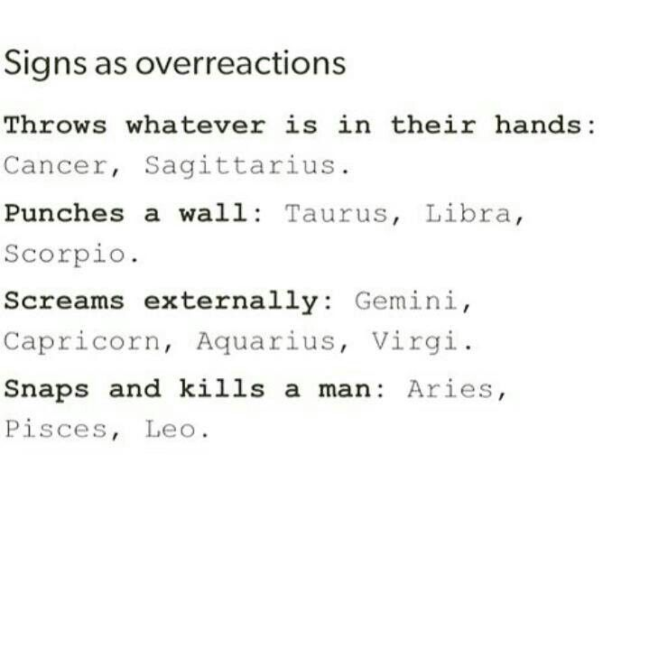 Signs as overreactions