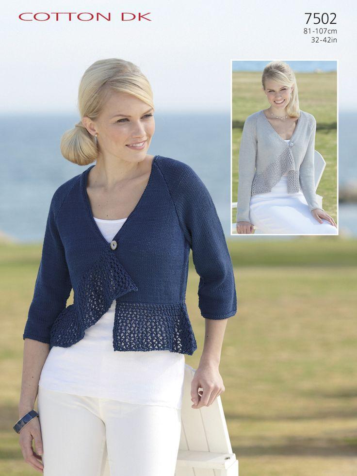 Sirdar 7502 3/4 Sleeved & Short Sleeved Cardigan in Sirdar Cotton DK (#3 Weight Yarn)