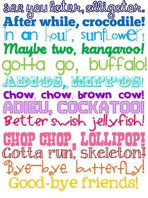 FREE printables - good-bye poem.Ideas, The Doors, Printables, Schools, Quotes, Alligators, Bye Bye, Fun, Kids